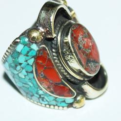 Af 0016 bague afghane medievale corail turquouoise ethnique 1