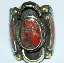 Af 0016 bague afghane medievale corail turquouoise ethnique 2