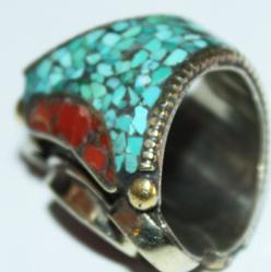 Af 0016 bague afghane medievale corail turquouoise ethnique 3