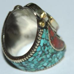 Af 0016 bague afghane medievale corail turquouoise ethnique 4