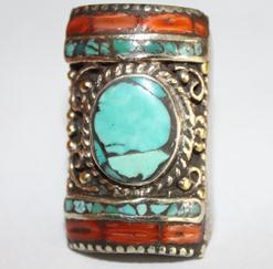 AF-0017 - Grosse Bague Ethnique Afghane et Médiévale Corail, Turquoise,  T 58 - 86 carats 17.2 gr