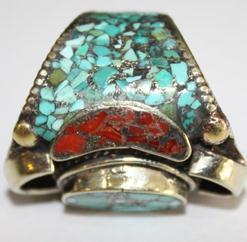 Af 0018 bague afghane medievale corail turquoise ethnique 2