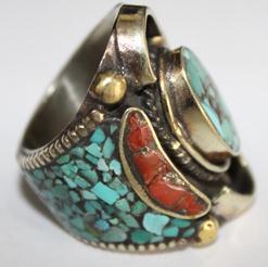 Af 0018 bague afghane medievale corail turquoise ethnique 3