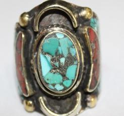 Af 0018 bague afghane medievale corail turquoise ethnique 4