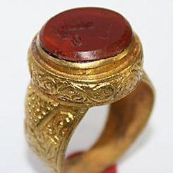 AF-0021 - Bague Romaine Etrusque Antique Afghan en CORNALINE à Intaille Dragon --------- T 55 ----- 50 carats