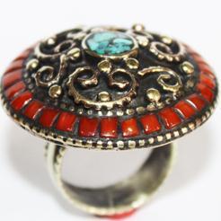 AF-0036B - Grosse Bague Ethnique Afghane et Médiévale Corail, Turquoise, T 58 - 92 carats 18.4 gr