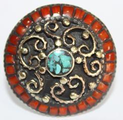 Af 0036 bague afghane ethnique medievale corail turquoise 2