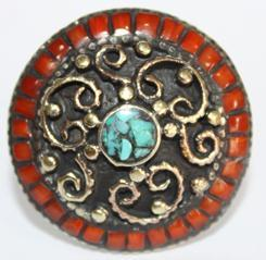AF-0036A - Grosse Bague Ethnique Afghane et Médiévale Corail, Turquoise, T 55 - 102 carats 20.4 gr