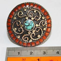 Af 0036 bague afghane ethnique medievale corail turquoise 5