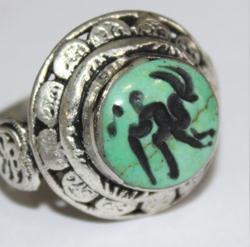 AF-0040 - Bague Romaine Etrusque Antique Afghan en TURQUOISE à Intaille Bouc ------- T 60 - 45 carats