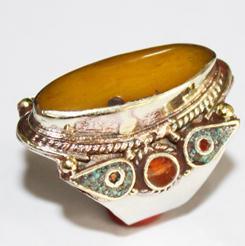 AF-0041 - Grosse Bague Ethnique Afghane et Médiévale Ambre, Corail, Turquoise,  T 60 - 69 carats 13.8 gr