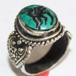 AF-0046 - Bague Romaine Etrusque Antique Afghan en TURQUOISE à Intaille Bouc ------- T 62 - 54 carats