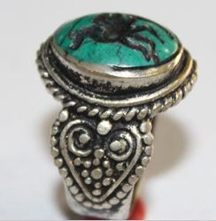 Af 0046 bague sceau intaille turquoise pegase afghane 2
