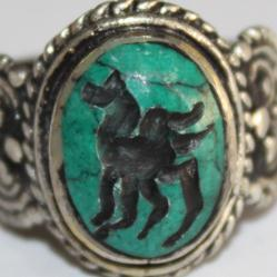 Af 0046 bague sceau intaille turquoise pegase afghane 3