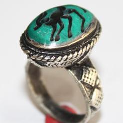 Af 0047 bague sceau intaille antilope afghane medievale 1