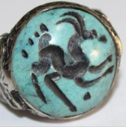 Af 0048 bague sceau intaille turquoise antilope afghane medievale 2