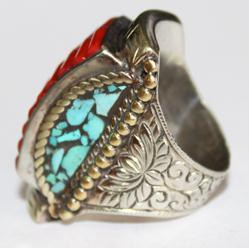 Af 0049 bague chevaliere afghane medievale corail turquoise 2