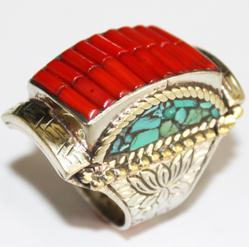 Af 0049 bague chevaliere afghane medievale corail turquoise 3