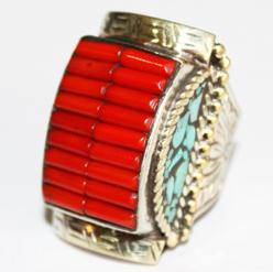 Af 0049 bague chevaliere afghane medievale corail turquoise 4