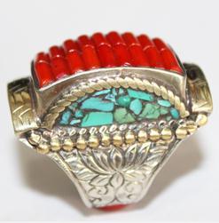 Af 0049 bague chevaliere afghane medievale corail turquoise 5