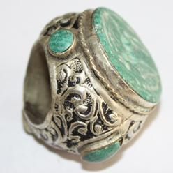 Af 0050 bague sceau intaille cheval turquoise afghane ethnique medievale corail turquoise 1