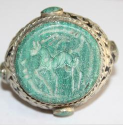 Af 0050 bague sceau intaille cheval turquoise afghane ethnique medievale corail turquoise 2