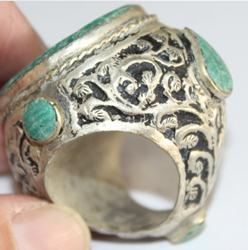 Af 0050 bague sceau intaille cheval turquoise afghane ethnique medievale corail turquoise 3