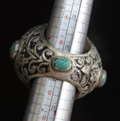 Af 0050 bague sceau intaille cheval turquoise afghane ethnique medievale corail turquoise 6