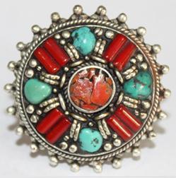AF-0055A - Grosse Bague Ethnique Afghane et Médiévale Corail, Turquoise T 56 - 150 carats 30 gr