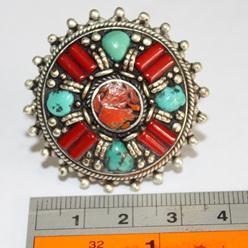 Af 0055 bague afghane medievale corail turquoise 6 1