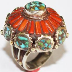 AF-0059 - Grosse Bague Ethnique Afghane et Médiévale Corail, Turquoise,T 62 - 166 carats