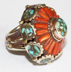 AF-0059A - Grosse Bague Ethnique Afghane et Médiévale Corail, Turquoise,T 59 - 169 carats