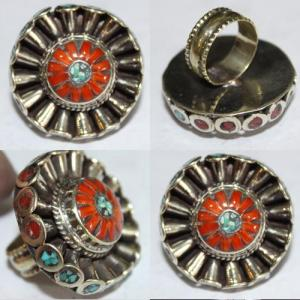 Af 0067 bague afghane medievale corail turquoise athnique 1
