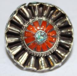 AF-0067 - Grosse Bague Ethnique Afghane et Médiévale Corail, Turquoise, T 54 - 137 carats