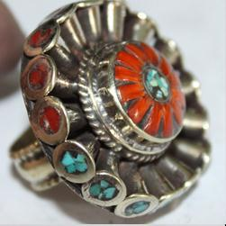 Af 0067 bague afghane medievale corail turquoise athnique 4