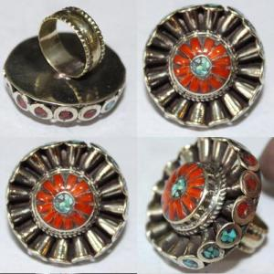 Af 0067 bague afghane medievale corail turquoise athnique 5