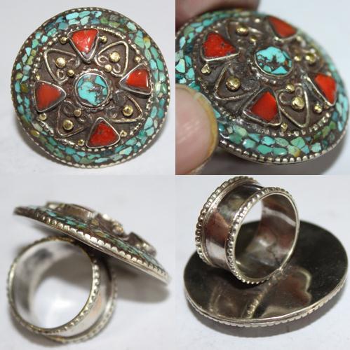Af 0068 bague afghane medievale corail turquoise ethnique 1