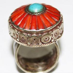 Af 0069 bague afghane medievale corail turquoise ethnique 3