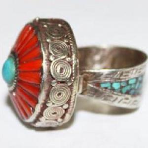 Af 0069 bague afghane medievale corail turquoise ethnique 4