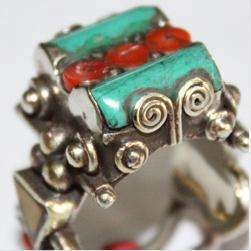 Af 0070 bague afghane ethnique medievale corail turquoise 2
