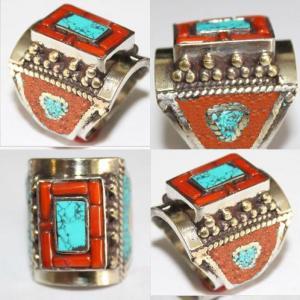 Af 0073 bague afghane ethnique medievale corail turquoise 1 1