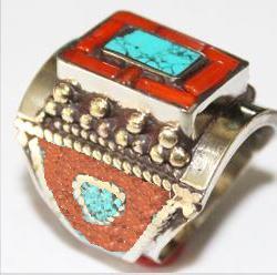 Af 0073 bague afghane ethnique medievale corail turquoise 3