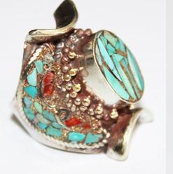 Af 0073 bague afghane medievale corail turquoise ethnique 1