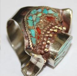 Af 0073 bague afghane medievale corail turquoise ethnique 4