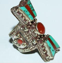 Af 0074 bague afghane ethnique medievale corail turquoise 1