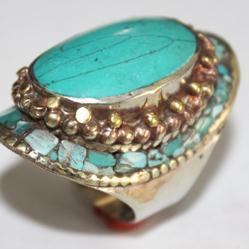 AF-0075 - Grosse Bague Ethnique Afghane et Médiévale Turquoise,  T 60 - 82 carats