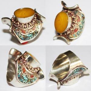 Af 0084 bague afghane ethnique medievale corail ambre turquoise 1