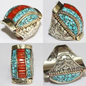 Af 0085 bague afghane medievale corail turquoise ethnique 1