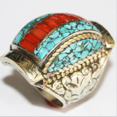 Af 0085 bague afghane medievale corail turquoise ethnique 2