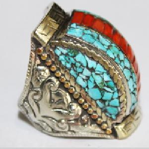 Af 0085 bague afghane medievale corail turquoise ethnique 3